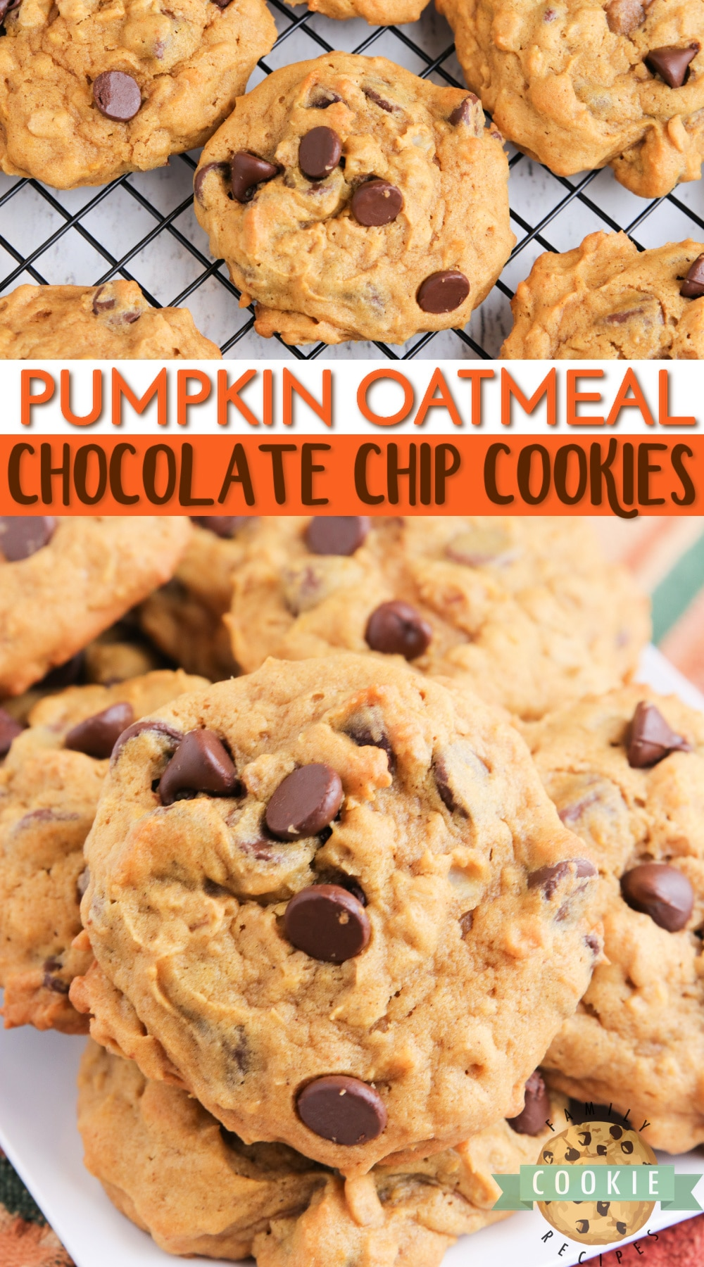 Pumpkin Oatmeal Chocolate Chip Cookies are soft, moist and loaded with pumpkin, oats and chocolate chips. Perfect oatmeal chocolate chip cookie recipe for fall! via @buttergirls