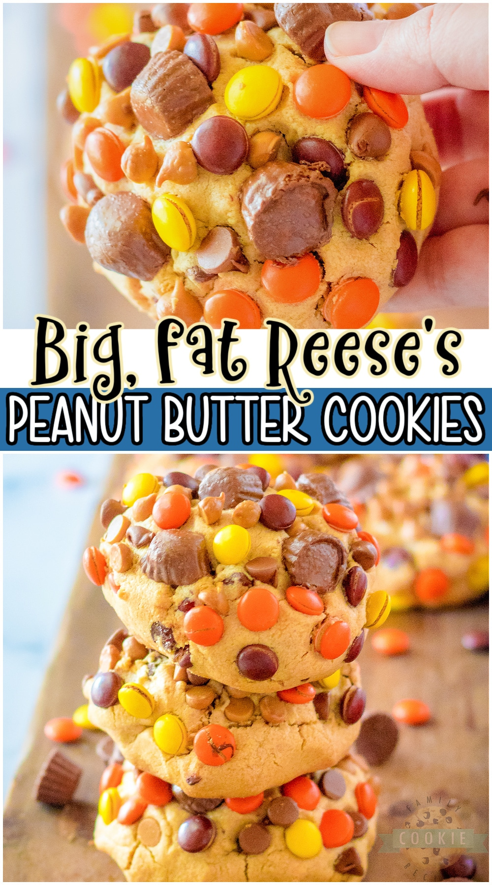 Reese's Peanut Butter cookies loaded with Reese's Pieces, peanut butter & chocolate chips, and Reese's Cups!  Big, fat cookies packed with great peanut butter chocolate flavor that everyone loves! #cookies #bigfat #peanutbutter #reeses #easyrecipe from FAMILY COOKIE RECIPES via @buttergirls