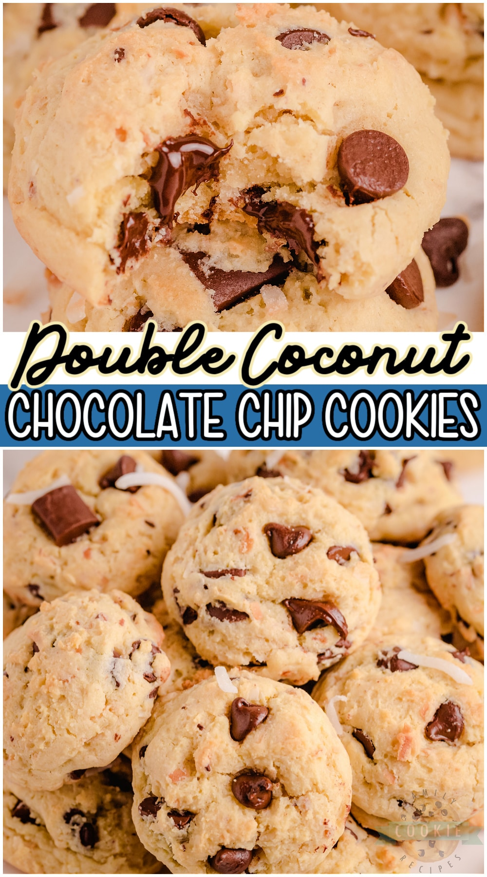 Coconut chocolate chip cookies packed with chocolate chips and double the coconut! Soft & chewy pudding chocolate chip cookies with coconut perfect for coconut lovers! #cookies #chocolatechip #coconut #pudding #baking #easyrecipe from FAMILY COOKIE RECIPES via @buttergirls