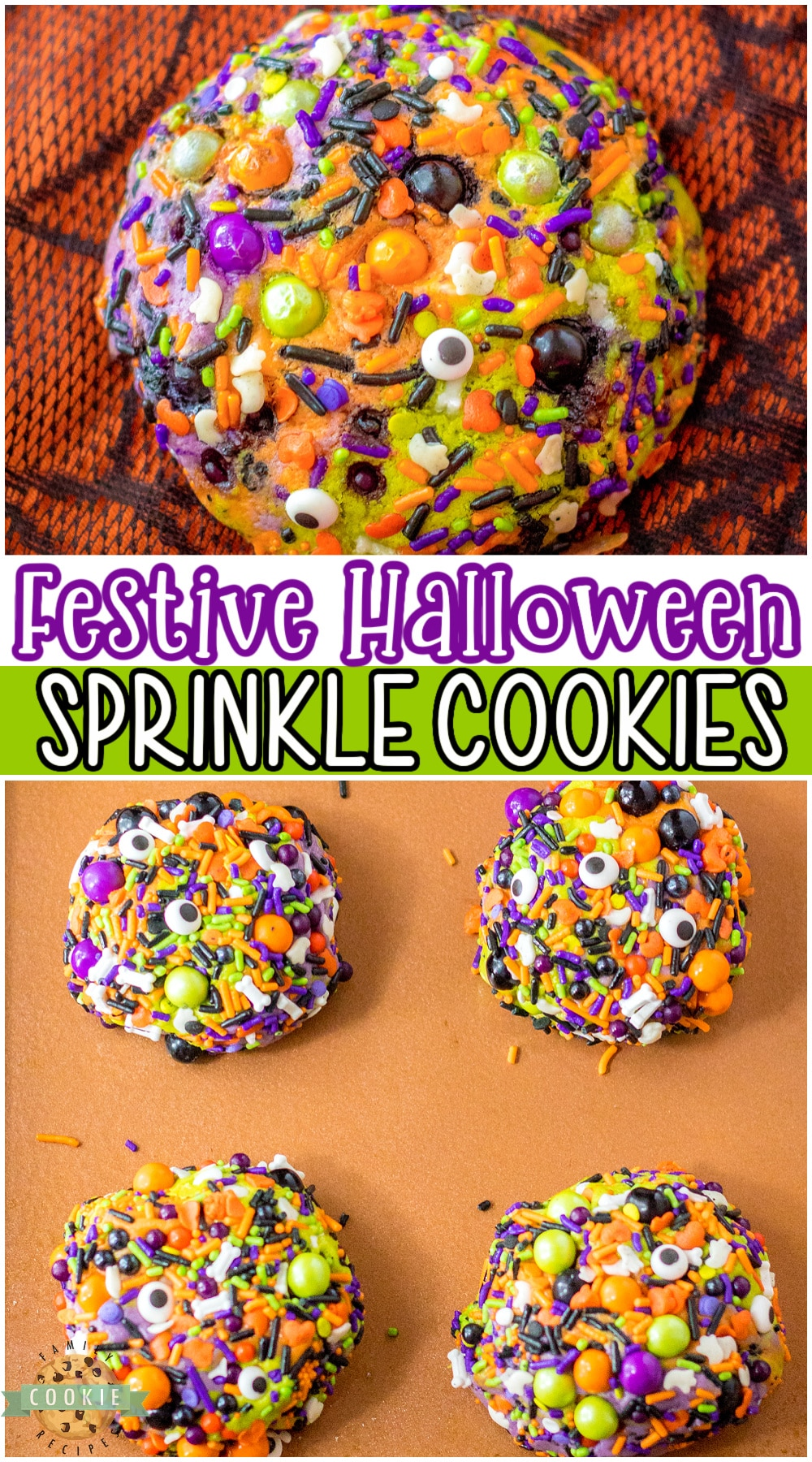 Halloween Sprinkle Cookies are big & buttery brown sugar cookies dyed Halloween colors, then rolled in festive sprinkles! Fun & tasty festive holiday cookies that everyone loves! #Halloween #cookies #bigfatcookies #sprinkles #easyrecipe from FAMILY COOKIE RECIPES via @buttergirls
