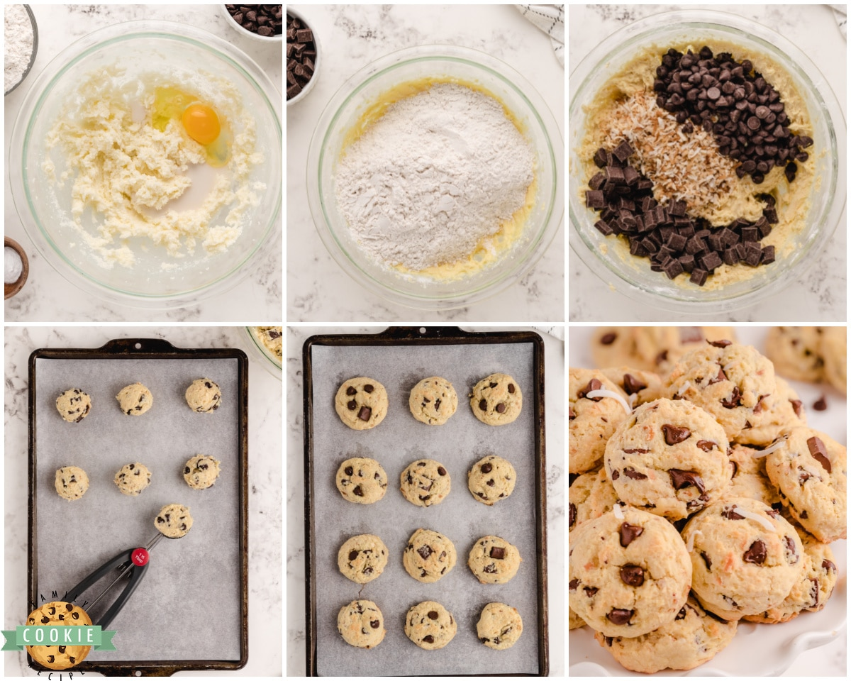 step by step photos showing how to make coconut chocolate chip cookies