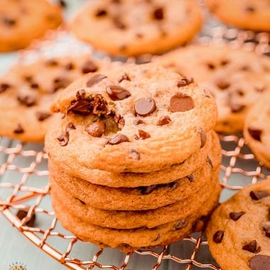 Copycat Chewy Chips Ahoy Cookies made easy at home with simple ingredients! Soft and chewy chocolate chip cookies even better than your favorite store-bought treat!