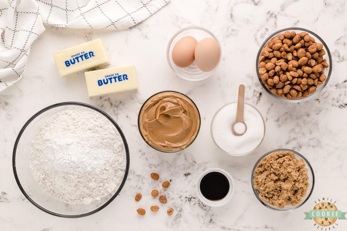 Ingredients in honey roasted peanut butter cookies