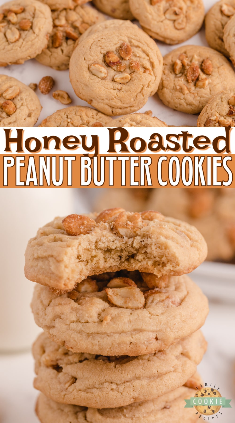 Honey Roasted Peanut Butter Cookies made with peanut butter and lots of honey roasted peanuts. Soft, chewy and delicious peanut butter cookie recipe with tons of peanut flavor! via @buttergirls