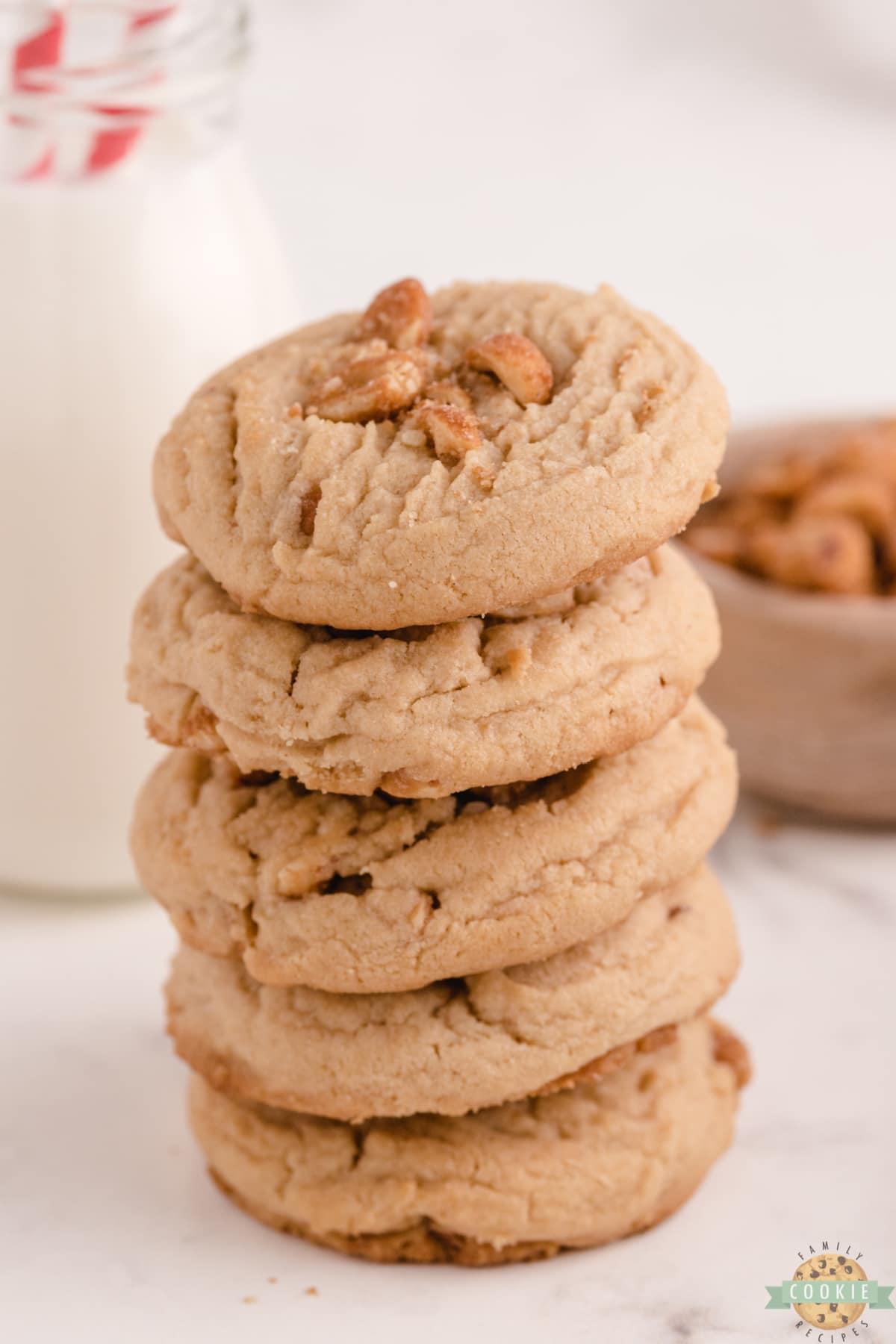 Honey Roasted Peanut Butter Cookies made with peanut butter and lots of honey roasted peanuts. Soft, chewy and delicious peanut butter cookie recipe with tons of peanut flavor!